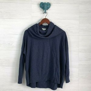 Joie Wool Cashmere Navy Blue Boxy Cowl Sweater